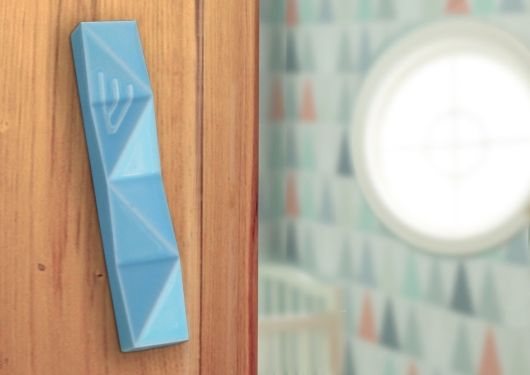 light blue mezuzah case