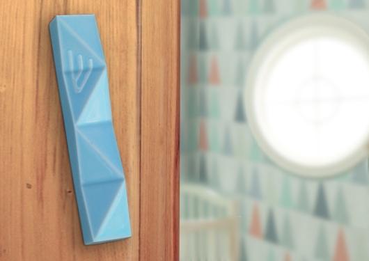 light blue mezuzah case